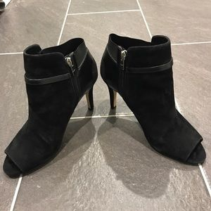 Marc Fisher Suede Peep Toe Booties (8.5 Wide)